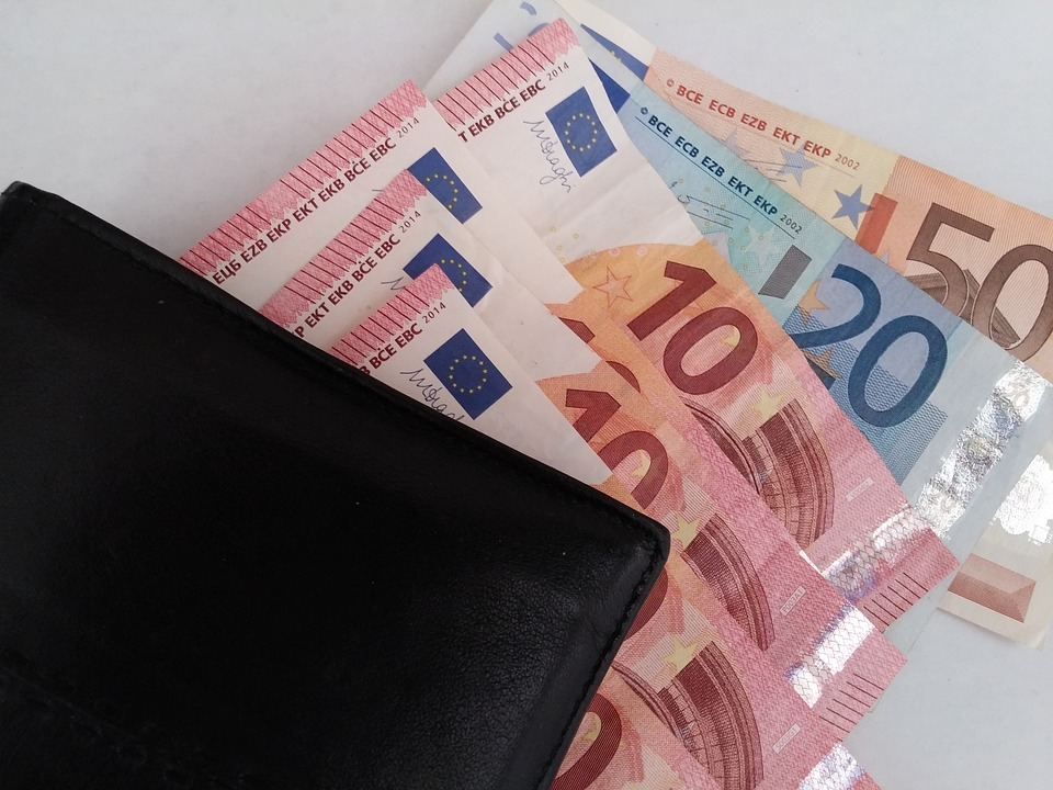 peněženka a eura