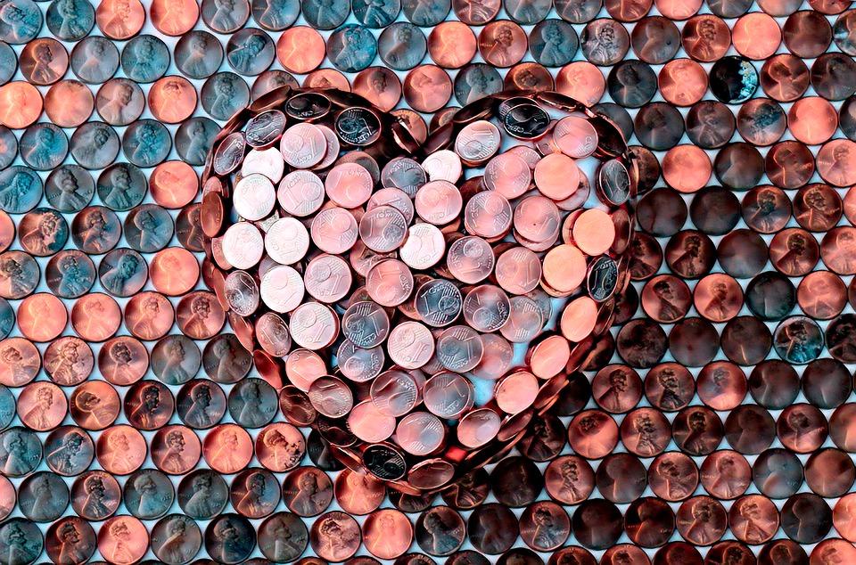 srdce z mincí